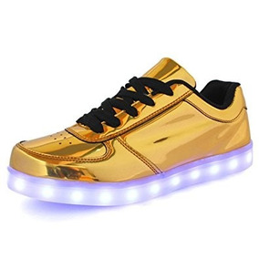 Tenis Recargable Led Zapato Usb Juvenil Unisex Sneakers Gold