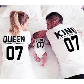 Kit 2 Camisetas Camisas Casal Familia King Queen Com Body