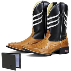 Bota Texana Classica Vintage Em Couro Estampa Avestruz 5c8ba664a94