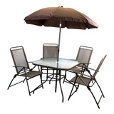 Conjunto Jardim Com Mesa+guarda-sol+4 Cadeiras