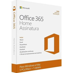 Office 365 Home - 5 Instalações - 1 Ano - Original