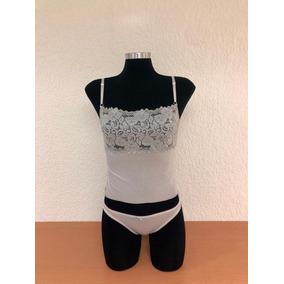 Conjunto De Crop Top De Licra/encaje Y Bikini Licra
