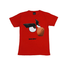 Camiseta Manga Curta Angry Birds Infantil Para Menino - Verm 433ccd662bc