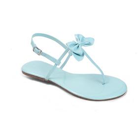 Sandália Flat Mercedita Shoes Verniz Gravatinha Verde Água