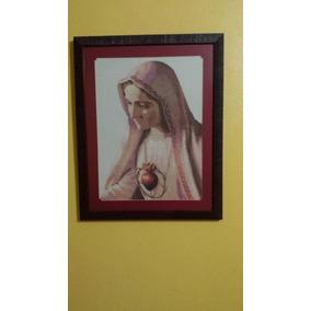 Cuadro Bordado En Punto De Cruz Del Corazón De Maria