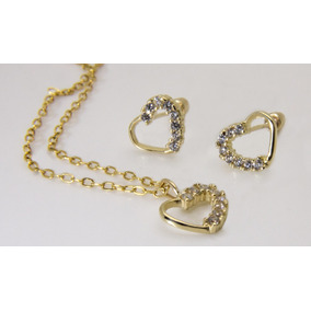 Corazón 6 Piedras Dije Y Aretes En 10k Con Cadena