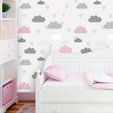 Adesivo De Parede Nuvens Cinza E Rosa Com Pássaros