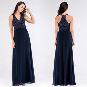 4b03b10fa Vestido De Festa Azul Marinho Bordado Importado - Calçados
