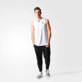 Branco Camiseta Regata Adidas Listrada Cinza C Regatas Homem ... 34ad6ec32b6