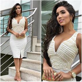 Vestido Bordado Longuete - Branco M