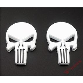 Par Adesivo 3d Carro Punisher Justiceiro Emblema Moto Branco