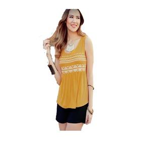 Blusa A468 Simulación Bordado Amarillo Mostaza Moda Club Ma