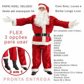 Roupa De Papai Noel Completa Fantasia Em Veludo Flex 3 Em 1