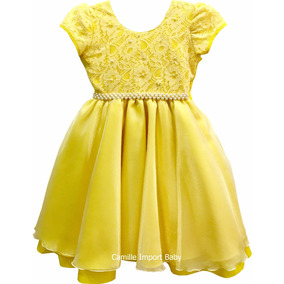Vestidos Meninas De Festa Outros Comprimentos Amarelo no Mercado ... 0b995e9f8ad