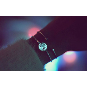 Collar Y Pulsera Luna Luminosa En Color Azul Y Aqua Con Envi