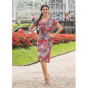 Vestido Decote Redondo Floral E Vermelho Frete Grátis