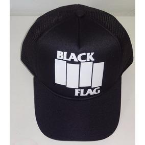 23c692fd997 Bone Black Flag Trucker Cap Preto Aba Curva Punk Rock. R  46