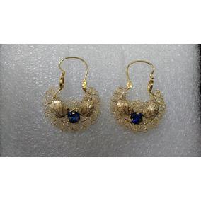 Aretes De Oro De FiligranaCon Hoja Y Zafiro Azul