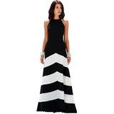 Vestido Alta Costura Importado Blanco Negro Fiesta Elegante
