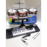 Kit Bateria Infantil + Teclado Com Microfone !