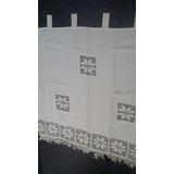 Visillo Rustico Crudo Con Puntilla 125x125cm 100% Algodon