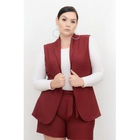 Roupa Feminina Maxi Colete Casual Plus Size