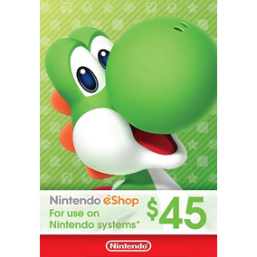 Cartão Nintendo Eshop Usa Switch 3ds Wii U Ecash $45 Dolares
