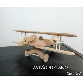 Avião Biplano De Madeira Brinquedo Artesanal Cod. 27