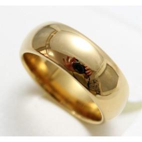 Aliança Tungstênio 8mm Folheada Banhada Ouro