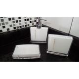 Kit Banheiro Conjunto Lavabo Porta Sabonete Líquido Escova