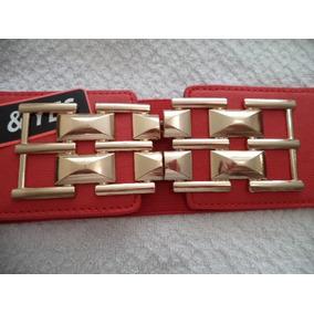 Cinturon Ajustable Rojo Dama Hebilla Dorada Y Plateada ec88e22d3b0a