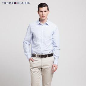 de7cc637339c1 Tommy Hilfiger Camisa Blanca A Rayas Azules Ed Lujo Talla S