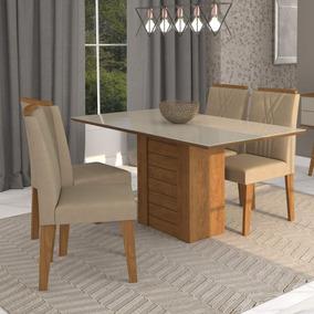 Sala Jantar Rafaela 4 Cadeiras Nicole Cimol Savana/off Cj