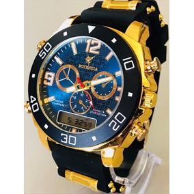 Relógio Masculino Luxo Dourado Militar Potenzia Promoção