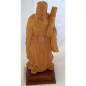 Figura Antigua China Talla En Madera Viejito En Traje Típico