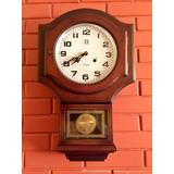 Reloj Antiguo De Cuerda, Madera, Pared, Péndulo Y Campana