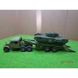 Camion Ingles Con Trailer Y Tanque Churchill En Escala 1.87
