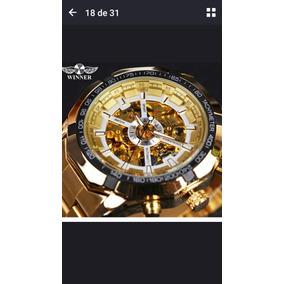 Relógio Dourado Mecânico Automático Masculino Gold Skeleton
