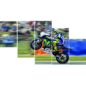 Quadro Decorativo Mosaico 5 Peças Moto Gp Moto De Corrida