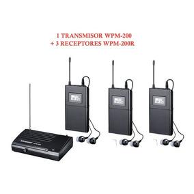Sistema De Monitoreo Inalambrico Takstar Wpm200 Y 3 Receptor