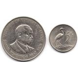 Kenia 1 Shilling 1980 Y Sudáfrica 5 Cents 1977