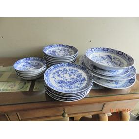 Juego De Fuentes Y Platos Porcelana Tsuji Old Blue-22 Piezas