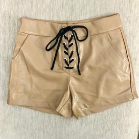 Shorts De Couro Cintura Alta Amarração