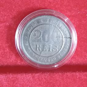 Moeda 200 Réis 1889 República Com Cunho Rachado (vazado)