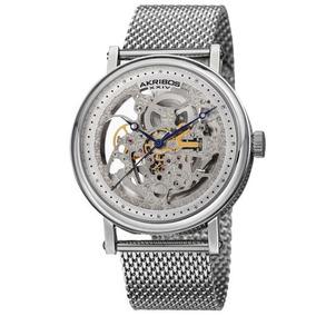 Reloj Akribos Xxiv Ak732ss Automático Esqueleto Plateado A