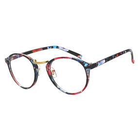 Armação Óculos Grau Acetato Redond Masculino Feminino Floral 41061a94d4