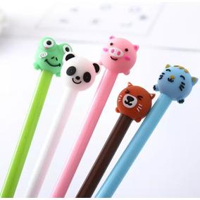 Kit 5 Caneta Gel Escolar Panda Animais Diversos Kawaii Fofas