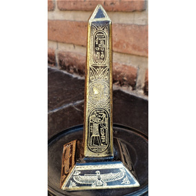 Exquisito Obelisco En Bronce Labrado Traído De Egipto 12 Cm