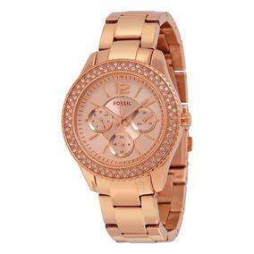 Reloj Fossil Es3590 Dama Analogo Rosa Con Piedras