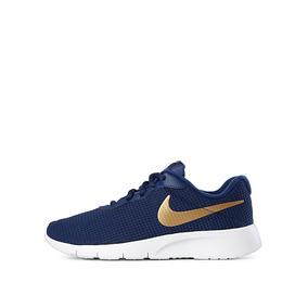 Tenis Nike Tanjun Azul Blanco Dorado 22.5-25 Originales